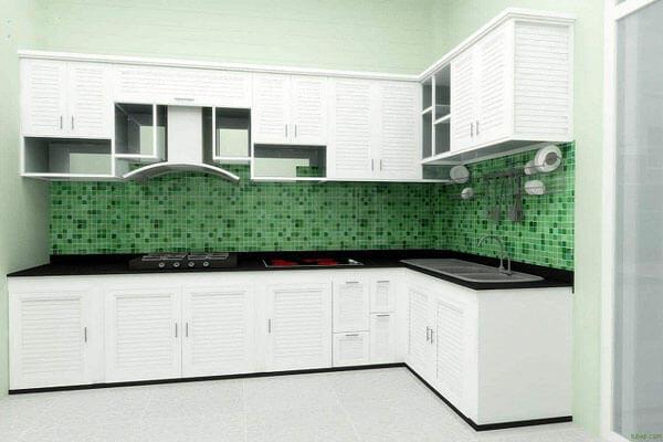 Tủ bếp màu trắng sứ sang trọng