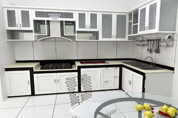 Tủ bếp nhôm kính sơn tĩnh điện đẹp