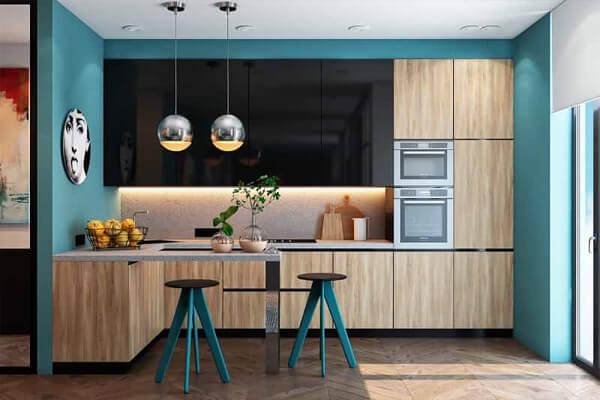 Thiết kế sơn nhà bếp màu xanh dương