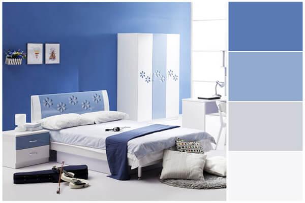 Thiết kế sơn phòng ngủ màu xanh dương