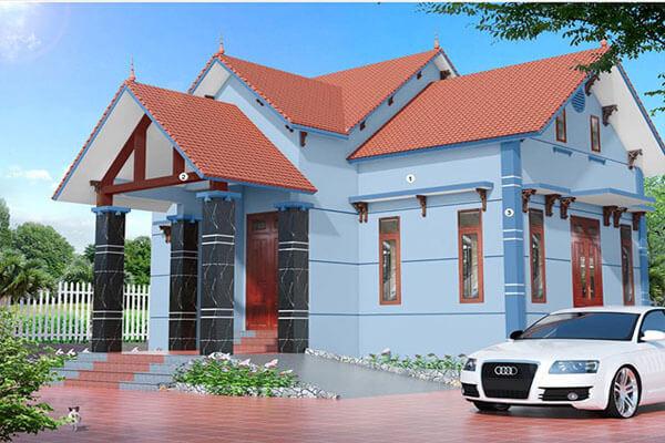 Thiết kế kết hợp với mái ngói cam