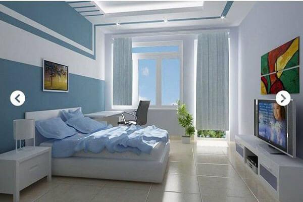 Sơn nhà màu xanh dương kết hợp gam trắng